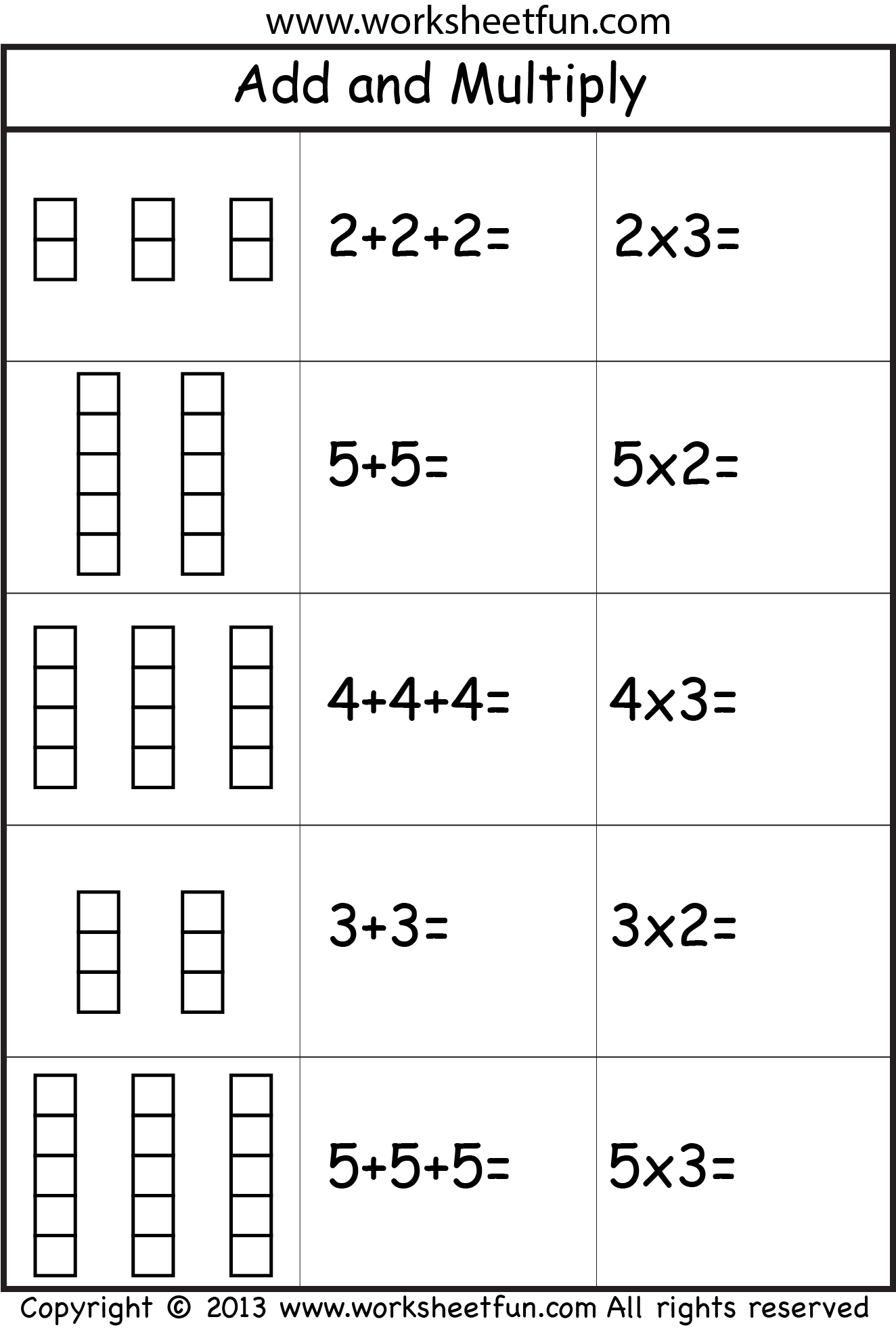 Multiplication – Add and Multiply – Repeated Addition -Two Worksheets /  FREE Printable Works…   Repeated addition worksheets [ 1971 x 1324 Pixel ]