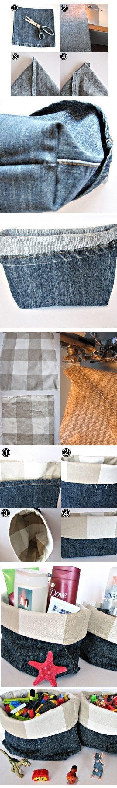 DIY Denim Fabric Baskets #DailyLifeBuff