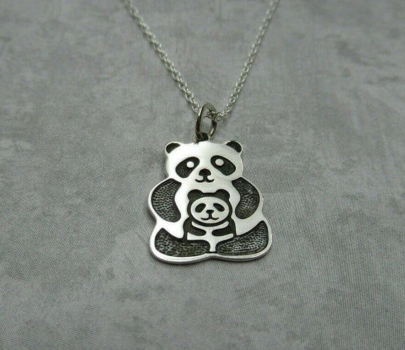 Mama & Baby Panda Bear Necklace - 925 Sterling Silver - Family Mom Mother Mommy and Me Pendant - Bab #babypandas