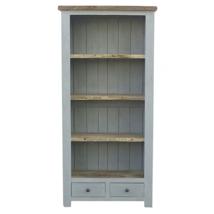 Grey Painted 2 Drawer Bookcase With Natural Wooden Top Wooden