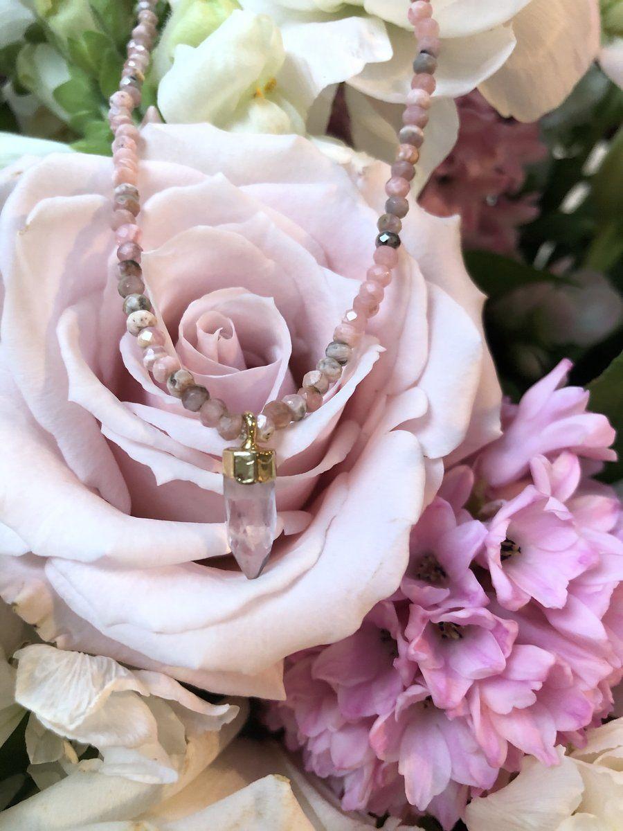 Rhodochrosite and Rose Quartz Necklace Preorder #quartznecklace