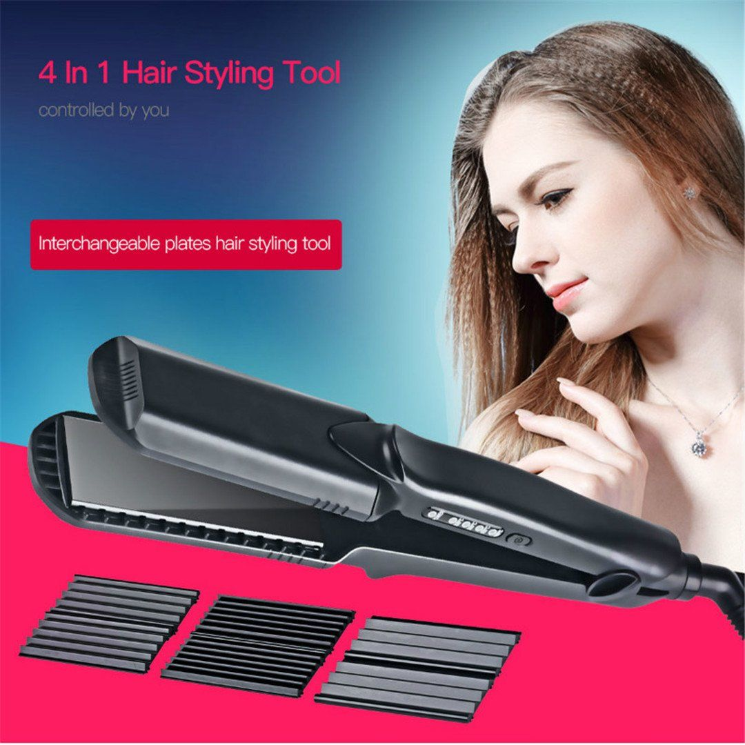 4in1 Flat Iron Ceramic Hair Straightener Electric Irons Temperature Control Corrugated Plate Hair Cu Flat Iron Hair Styles Curling Iron Hairstyles Ceramic Hair