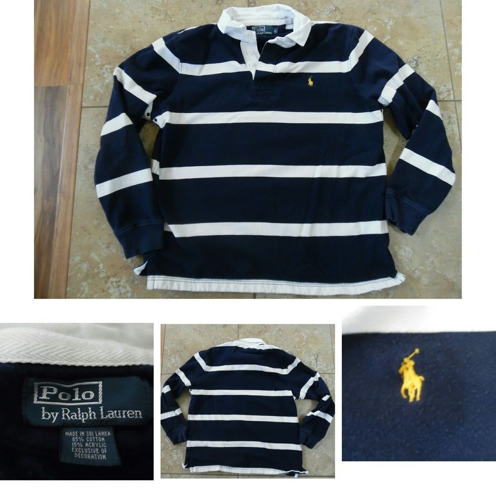VTG POLO Ralph Lauren LONG SLEEVE STRIPED RUGBY SHIRT Navy White Gold Pony  Sz L  POLObyRalphLauren  Rugby  Casual 5e3f767310