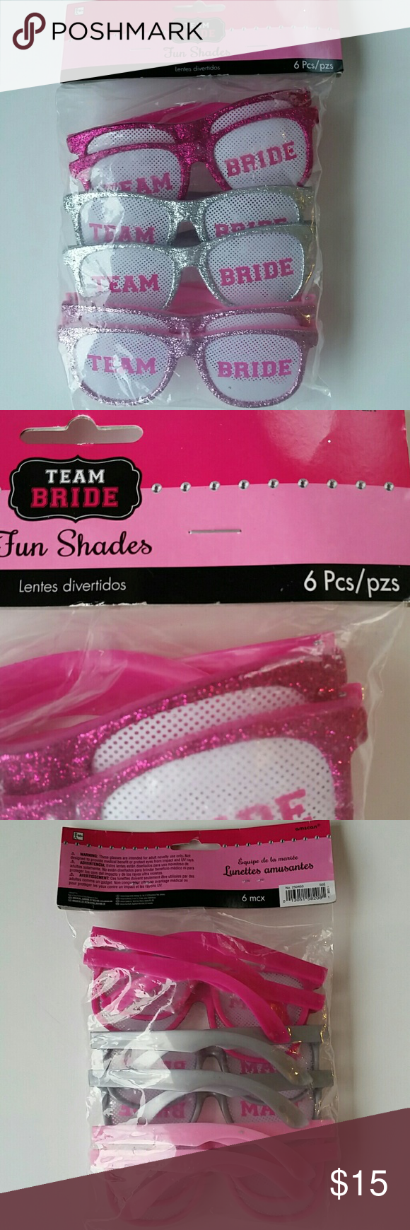 4bcc3bc303c2 Team Bride Fun Shades Glasses Brand new in original packaging. Pack of 6  shades. Super fun and perfect for a bridal shower. Smoke and pet free house.