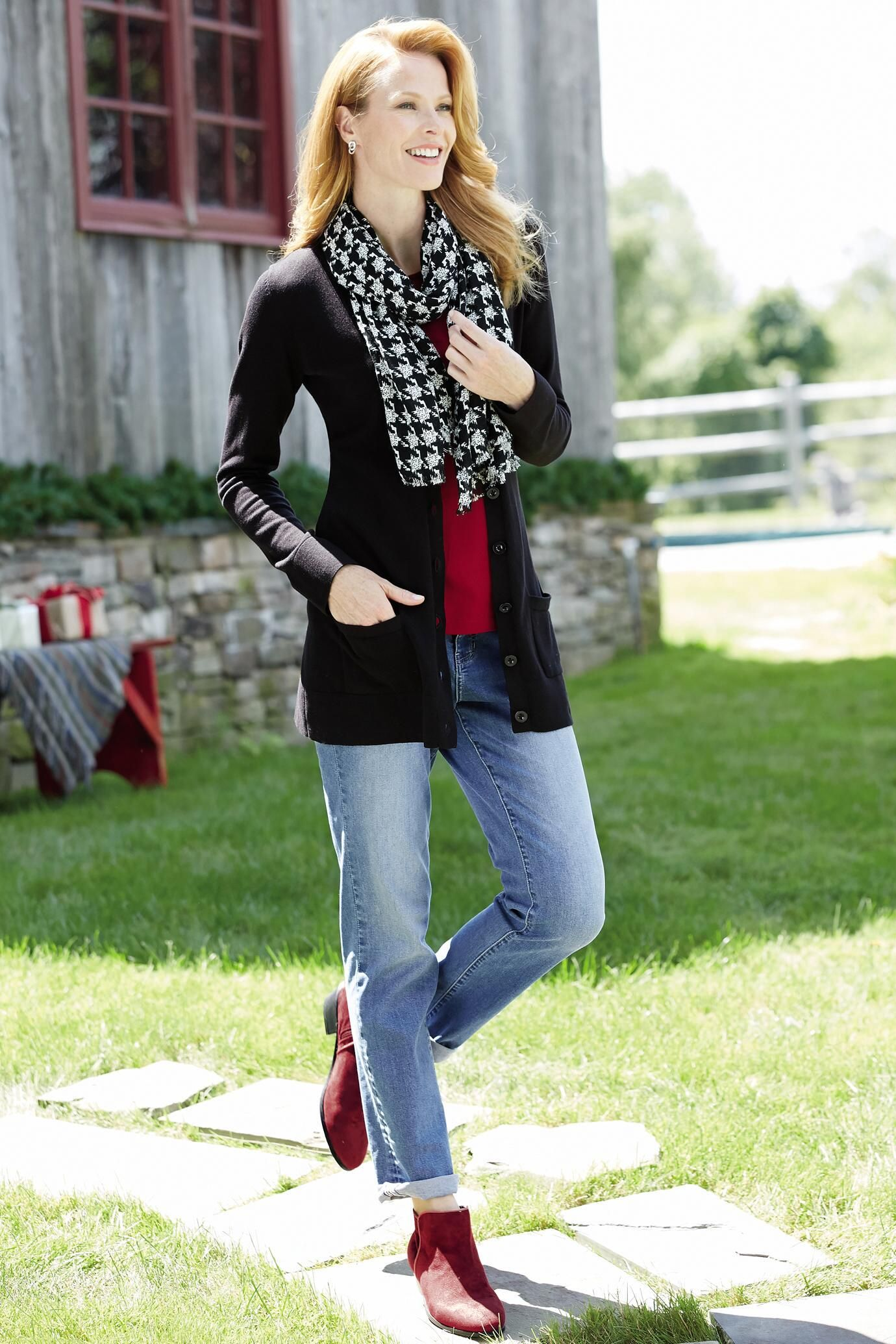 The Long Length Boyfriend Cardigan: Classic Women's Clothing from ...