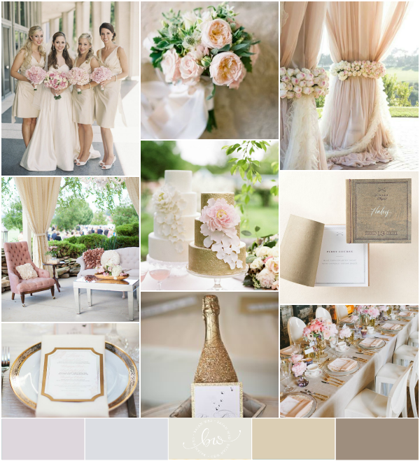 Gold Ivory Champagne Blush Pink Chocolate Wedding Palette