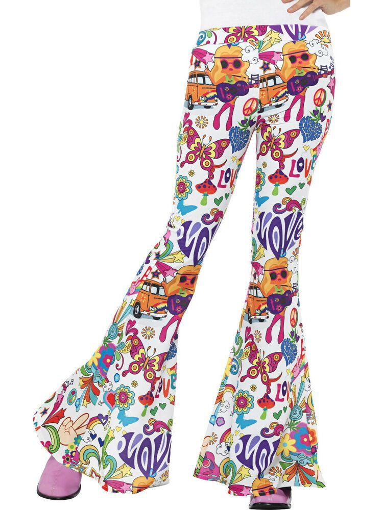 Womens Flower Power Hippy Hippie Flares Pants 60s Fancy Dress Costume Trousers