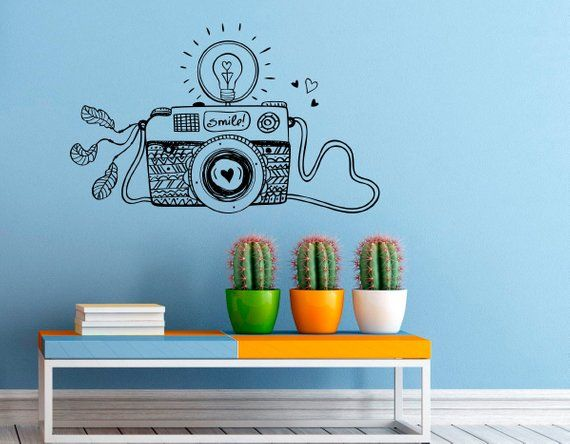 smile motivation wall decal camera vinyl stickers photo studio