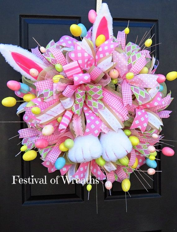 Easter Bunny Deco Mesh Wreath Easter Front by FestivalofWreaths ...
