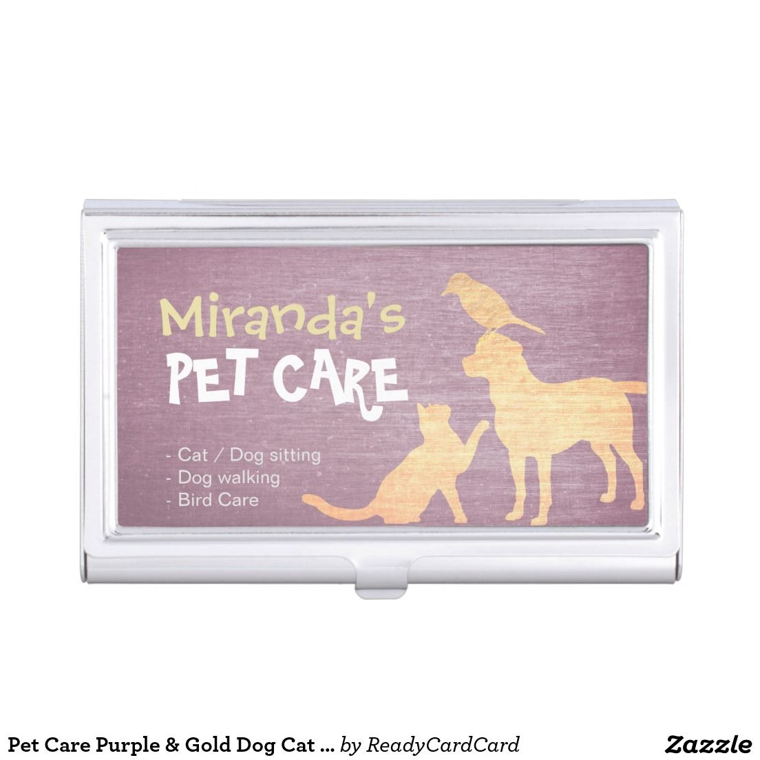 Pet Care Purple & Gold Dog Cat Bird Silhouettes Business Card Holder ...