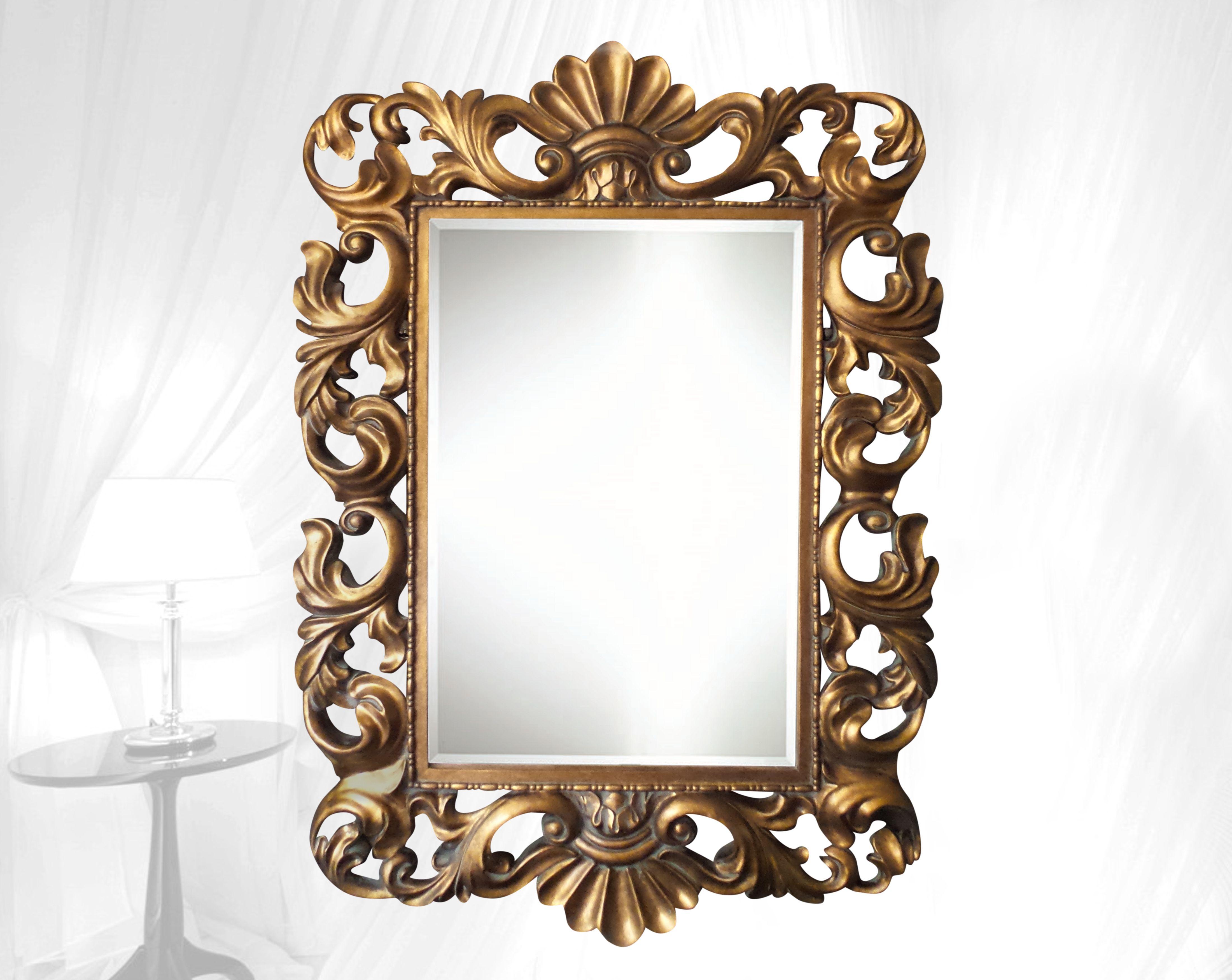 Prachtige grote Barok Rococo spiegel met kuif en facet geslepen glas ...
