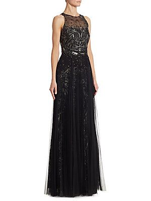 d1d2934e9dbd5 Marchesa Notte Metallic Embroidered Tulle Gown