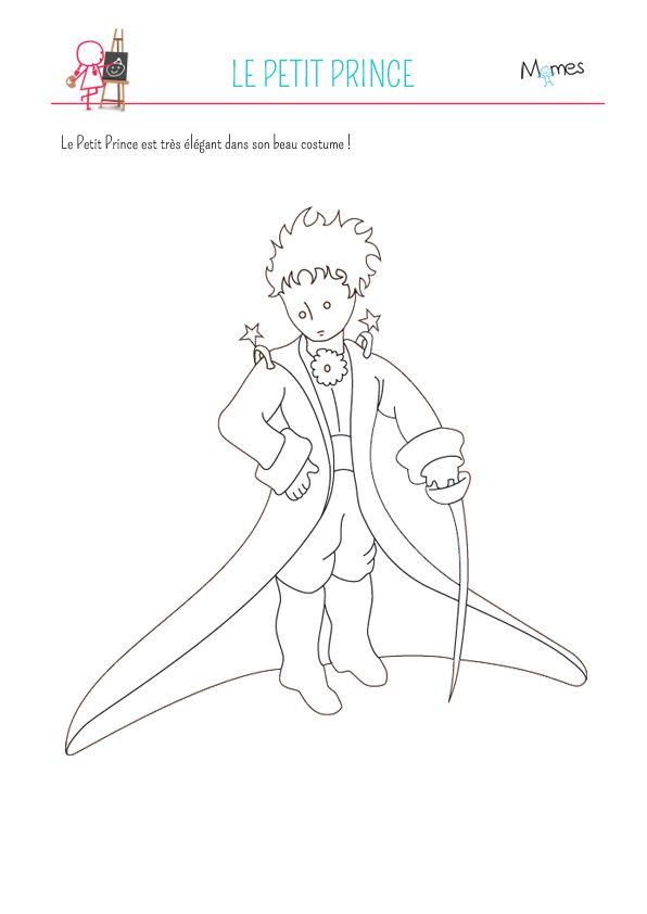 Coloriage le petit prince le petit prince en costume le - Dessin costume ...