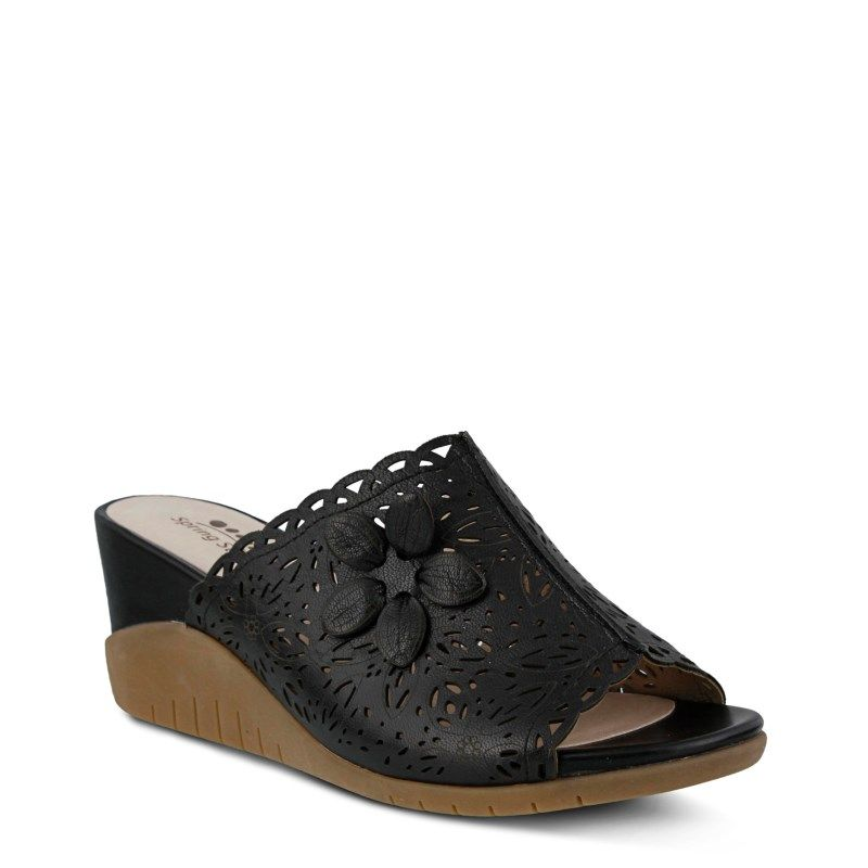 Spring Step Women's Togo Wedge Sandals (Black Leather)