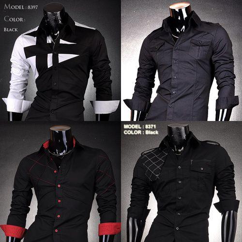 BLACK COLOR CLUB Mens Fashion Cotton Designer Cross Line Slim Fit ...