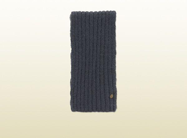 midnight blue wool and silk scarf