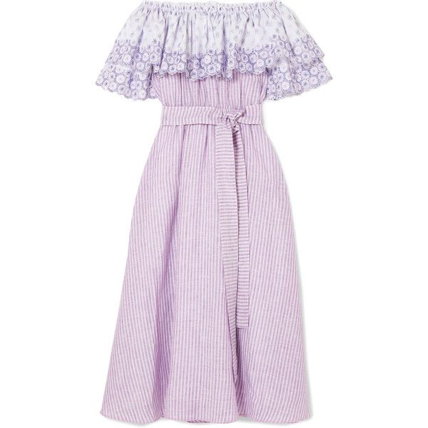 Off-the-shoulder Broderie Anglaise-trimmed Striped Linen Dress - Lavender Gül Hürgel