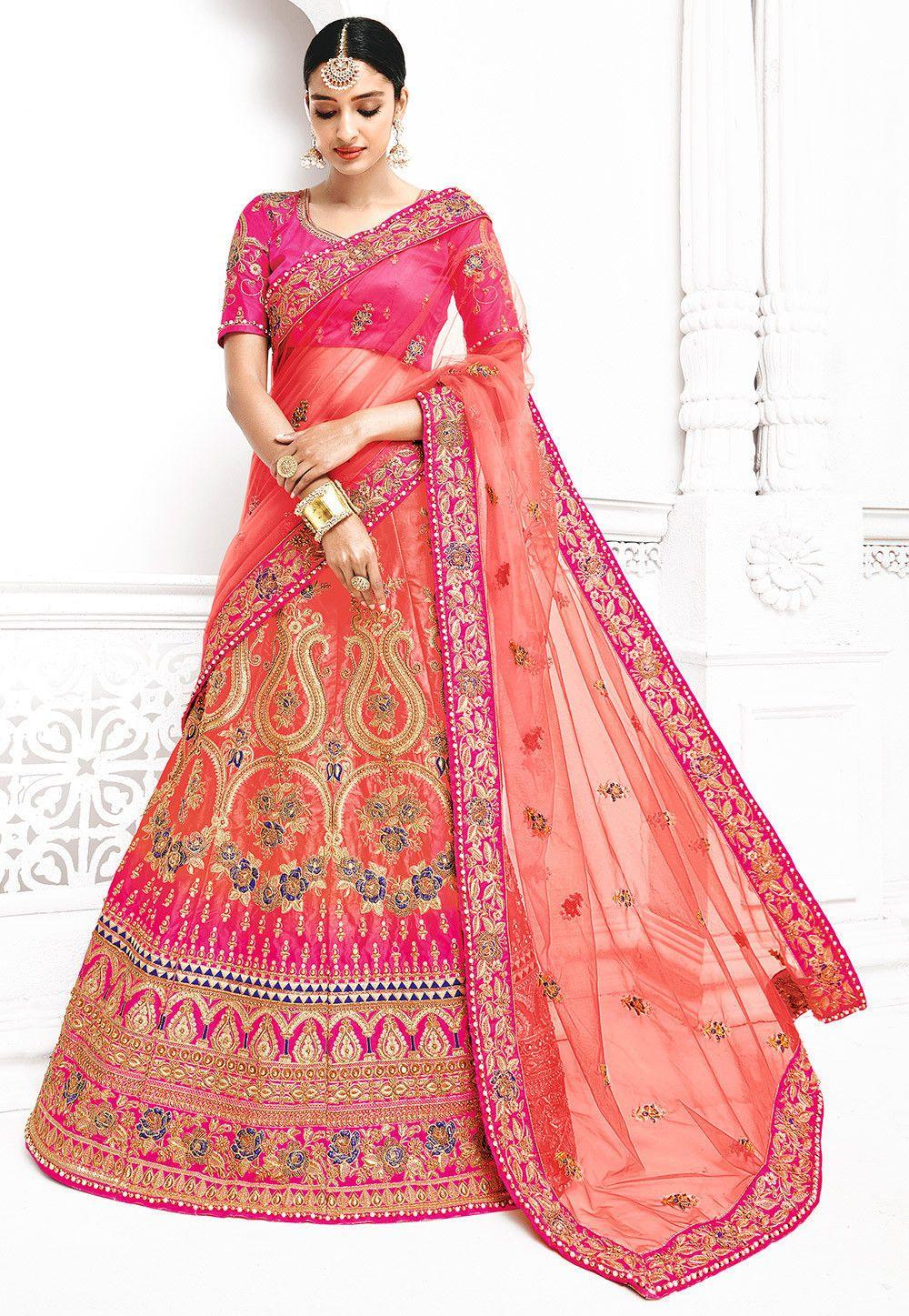 f57f3b7056 Buy Embroidered Net Lehenga Style Saree in Dark Peach online, Item code:  SPFA2173, Color: Pink, Occasion: Wedding, Bridal, Work: Bead Work, Resham,  ...