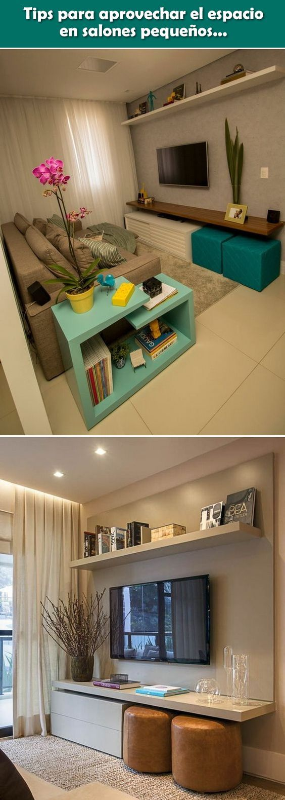 Tips para aprovechar el espacio en salones peque os interior design pinterest decoracion - El mueble salones pequenos ...