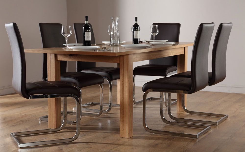 Buy Harrison Extending Oak Dining Table And 4 Chairs Set Perth Brown At Furniture Choice
