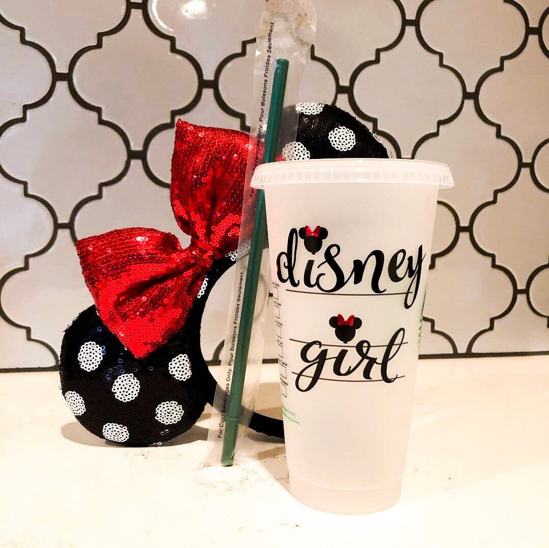 Personalized Starbucks Cup Choose Your Name Font And Mickey Or Minnie Mouse Accents Disney Personalized Starbucks Cup Starbucks Cups Custom Starbucks Cup