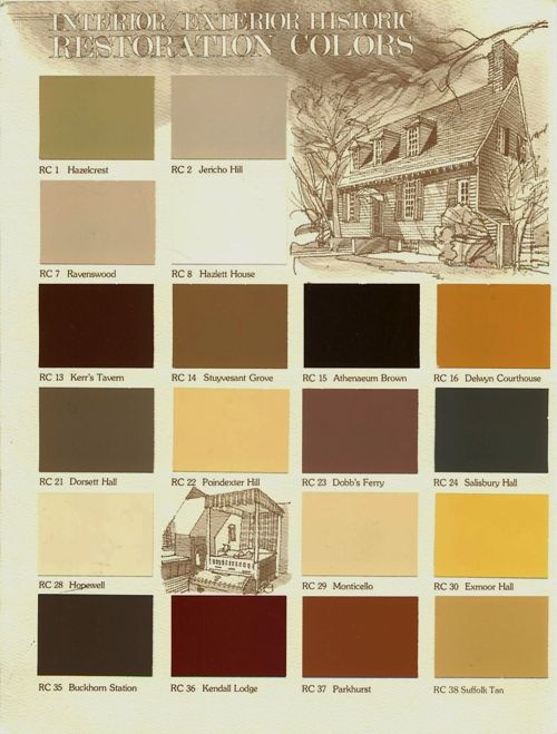 Colonial Colors Historic Color Choices No Color Preference Off This Chart Rc7 Historic Colours Historic Paint Colours Primitive Colors #primitive #living #room #paint #colors