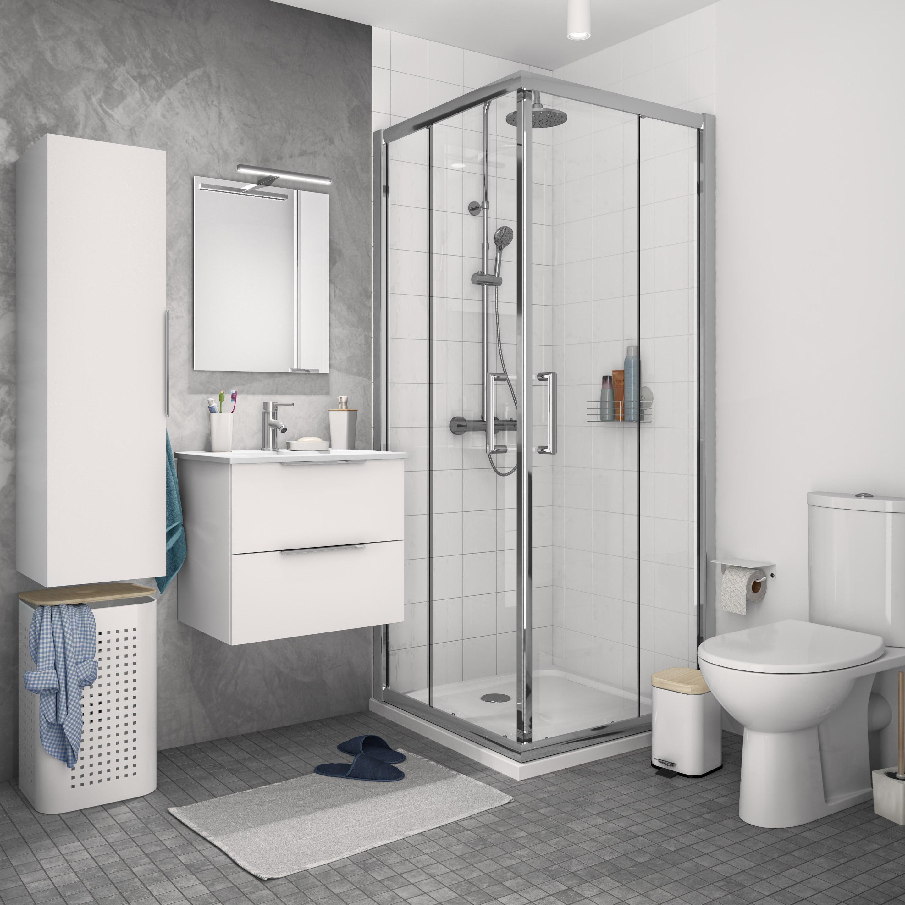 Bains Blanc Essential H53 L59 Meuble P441 Salle Sensea Meuble De Salle De Bains L 59 X H 53 X P 44 Bathroom Design Layout Bathroom Vanity Makeup Rooms