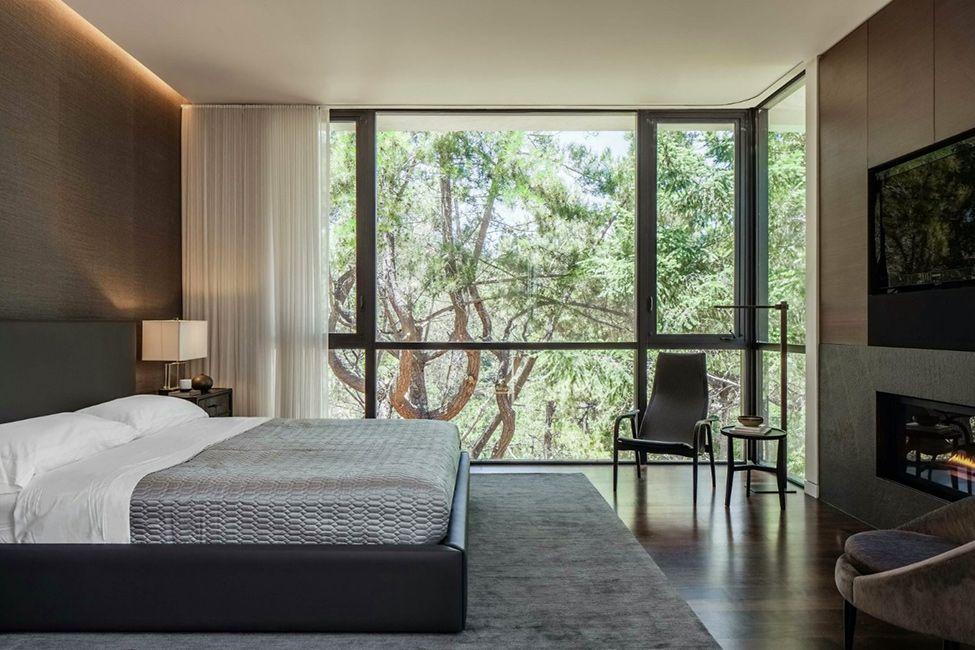 Modern Bedroom Design Modern Fireplace Black Bed