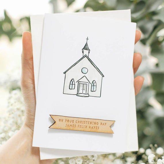 personalised handmade church baptism card  christening