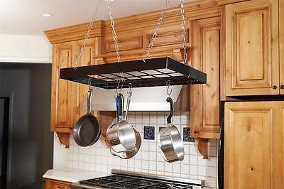 Hanging Kitchen Metal Pot U0026 Pan Storage Rack Holder Organizer Hooks Cookware