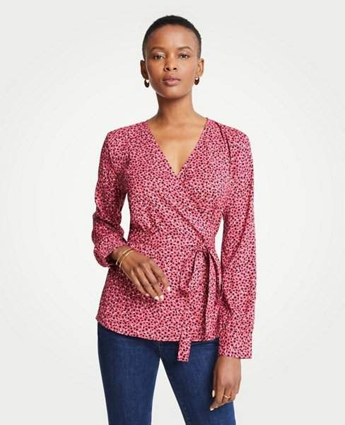 4e2b309993 Ann Taylor Geo Dot Belted Wrap Top | Products | Tops, Fashion ...
