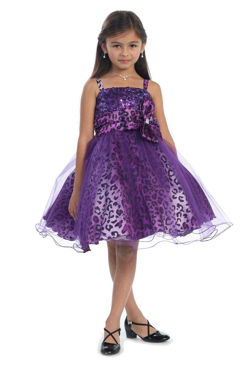3897b2267 White/Purple+Animal+Print+Mini+Flower+Girl+Dress+G3200-PP+$57.95+on+www. GirlsDressLine.Com