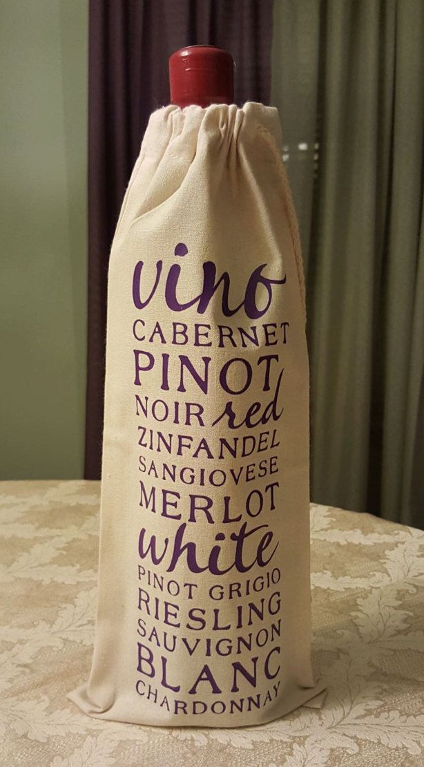 Wine Tote Bag Gift Personalized Christmas Holiday Housewarming Gifts Cotton Canvas Wedding Hostess
