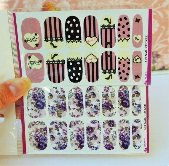 2 Packs Pink nail wrap, Purple Flowers Nail Art, Nail Design, water ...