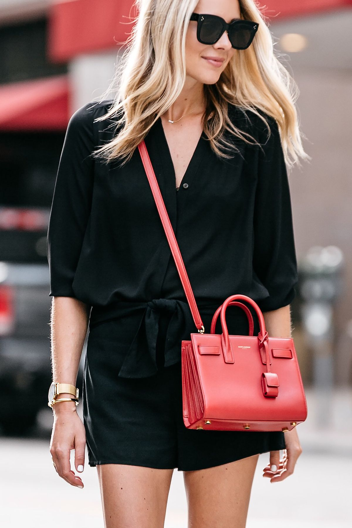 5cf7631ed4c7 Blonde Woman Wearing Nordstrom Black Blouse Nordstrom Black Tie Front  Shorts YSL Sac De Jour Nano Red Street Style Outfit Dallas Blogger Fashion  Blogger
