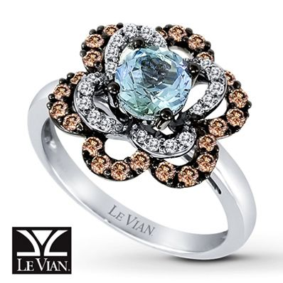 my next Le vian Purchase so in love Le Vian® 14K Gold Diamond & Sea Blue Aquamarine™ Ring
