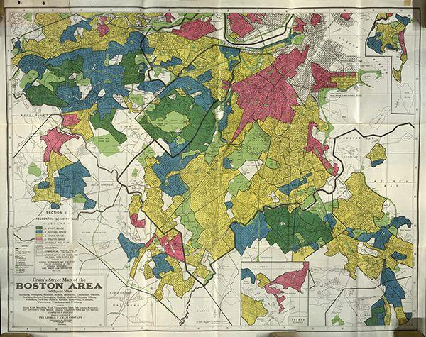 The full Boston redlining map. | Redlining Maps of U.S. Cities ...
