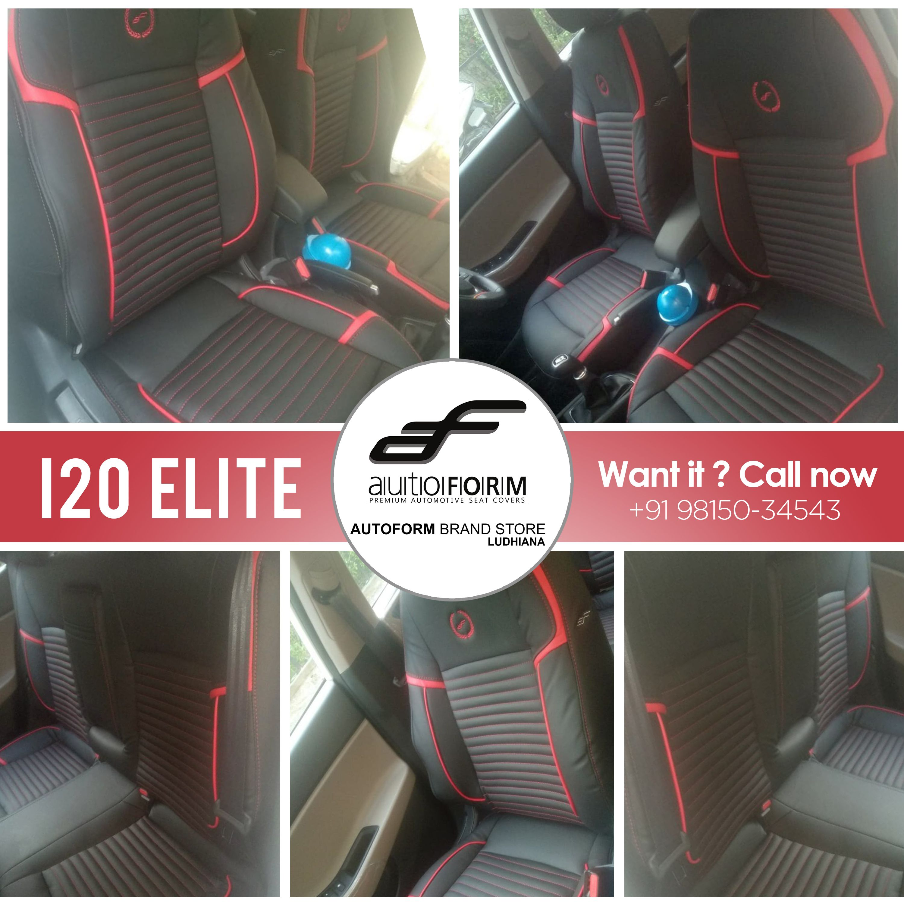 Hyundai I20 Elite Enlightened Its Interior With Riviera Series Seat Covers In The Red Black Combination Branded Seat Cov Car Detailing Ludhiana Brand Store