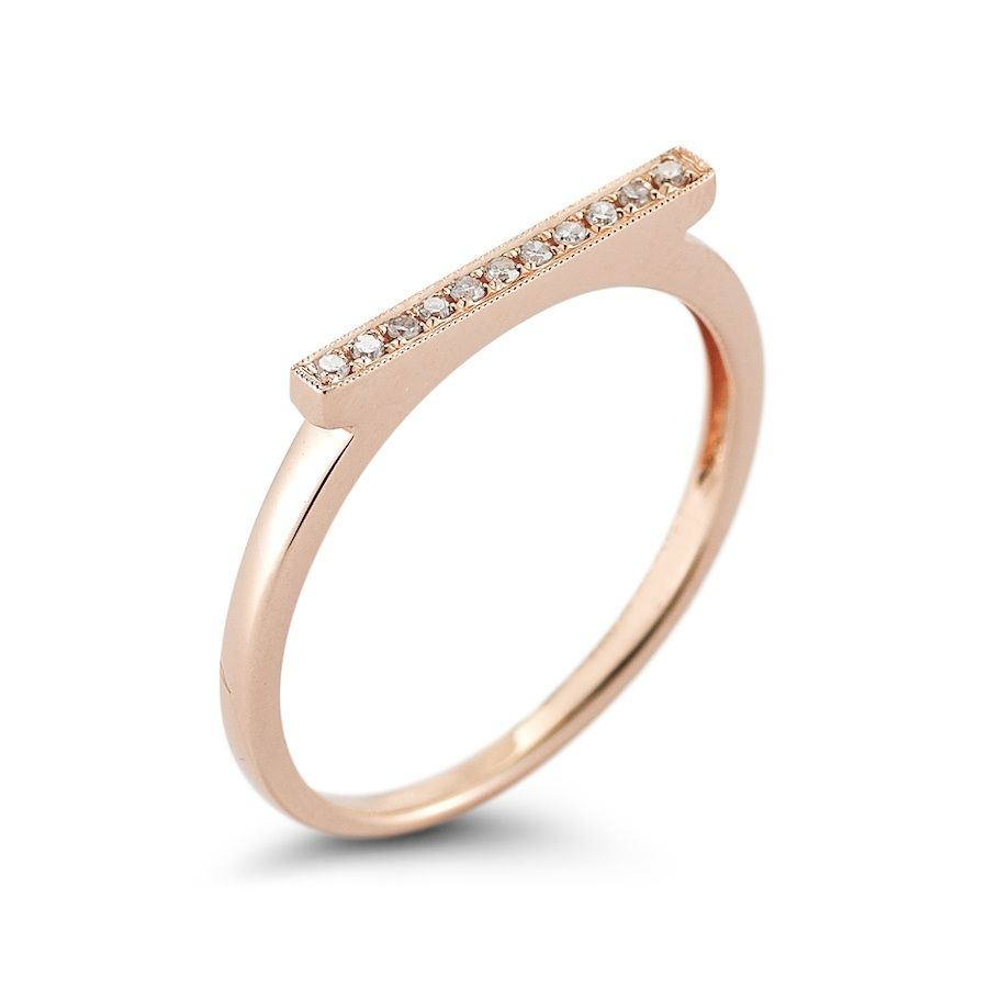 Sylvie Rose Stackable Bar Ring With 05 Carats Of Diamonds In 14k Rose Gold Gold Bar Ring Dana Rebecca Jewelry Rose Gold Black Diamond
