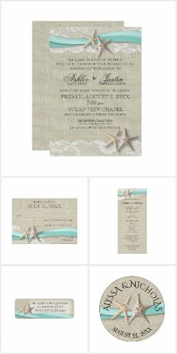 Rustic Beach Starfish And Lace With Aqua Ribbon Or Destination Themed Wedding Invitation Suite Sand Background Light Blue