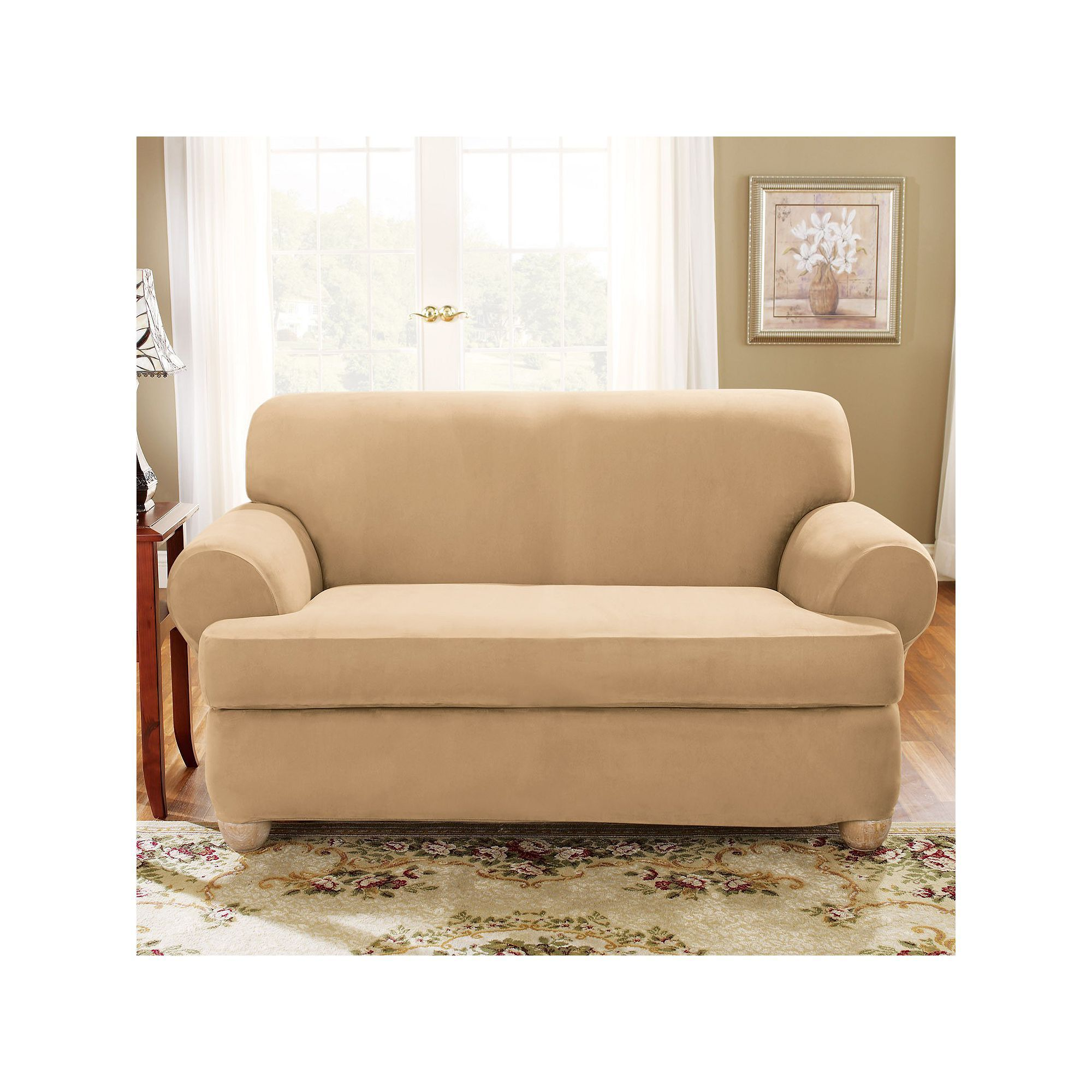 Sure Fit Stretch Suede T Cushion Sofa Slipcover Beig Green Khaki