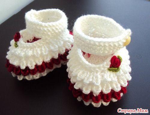 Botines tejidos a crochet para bebe02 | Proyectos que intentar ...