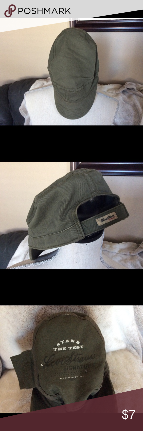 Levi Strauss Signature Military Cadet Cap Army green military cap with  adjustable strap. And pocket on the inside of the cap. Signature logo all  over the ... 02a10d6cc35