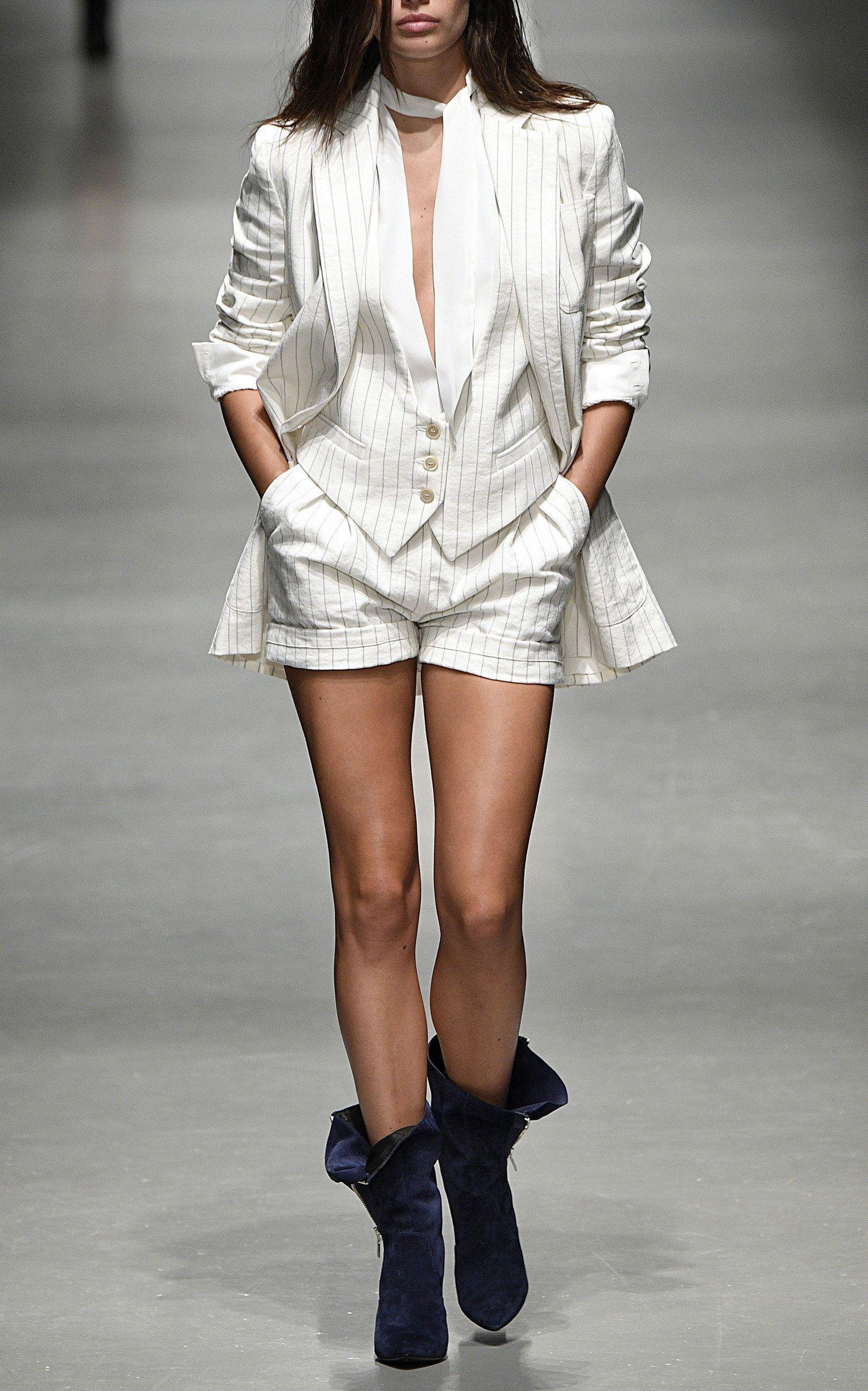 Pinstripe Cotton Blend Shorts By Philosophy Di Lorenzo Serafini Now Available On Moda Operandi Modern Outfits Western Fashion Fashion