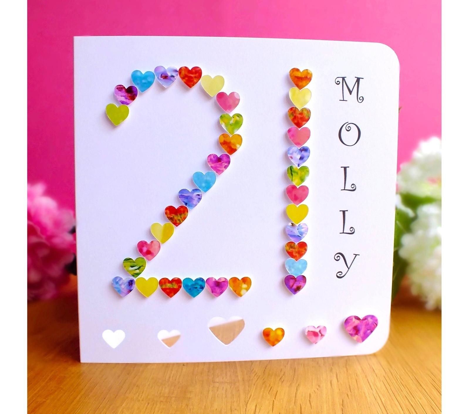 21st Birthday Card Personalised Age 21 Card Multi Coloured Etsy 21st Birthday Cards Birthday Cards Personal Cards