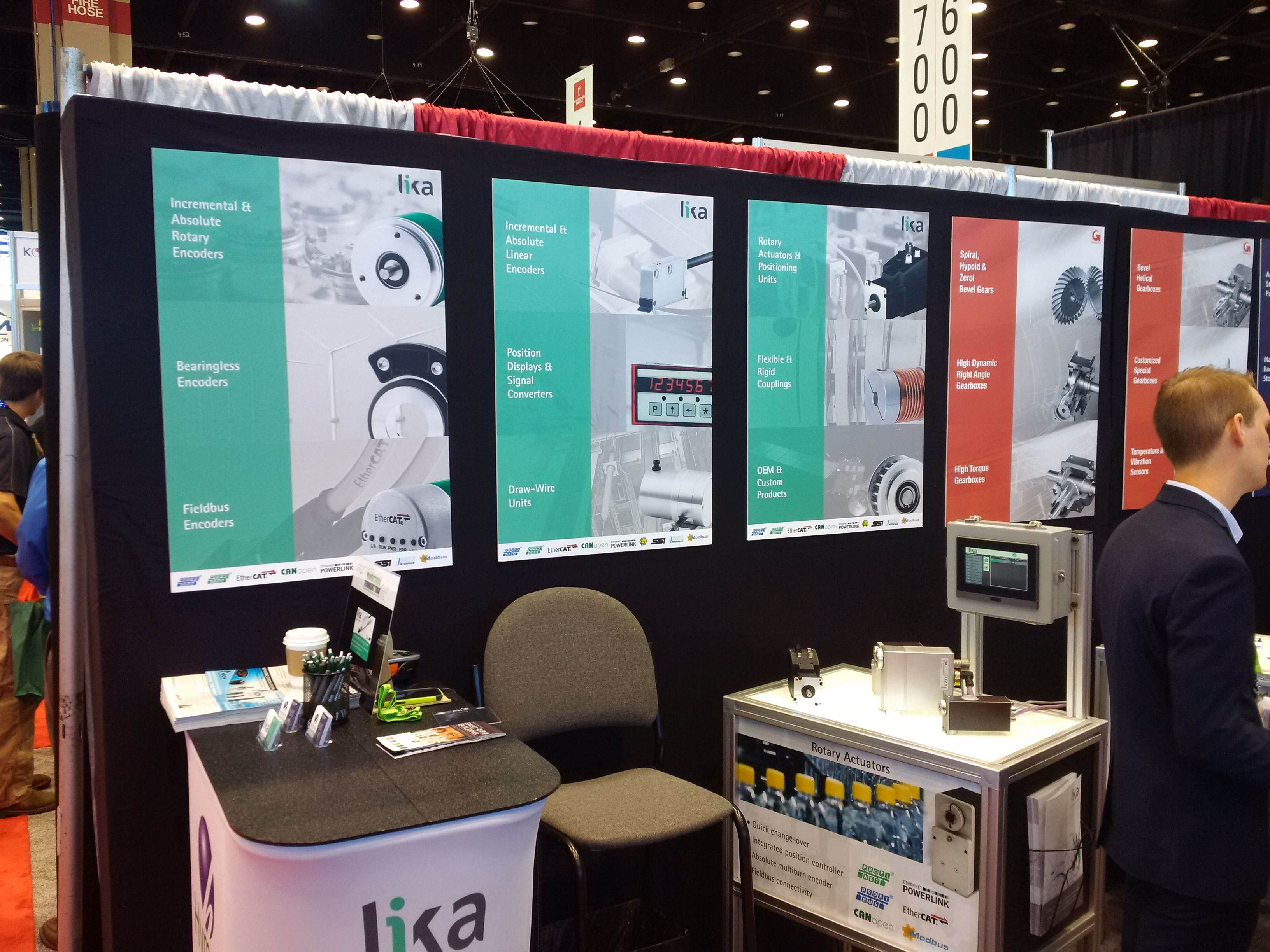 Lika's booth E-4354 at #IMTS in #Chicago. Discover the range of rotary #actuators + LDT10 #HMI touch panel for quick #changeover operations and positioning systems. Photo from Day 1