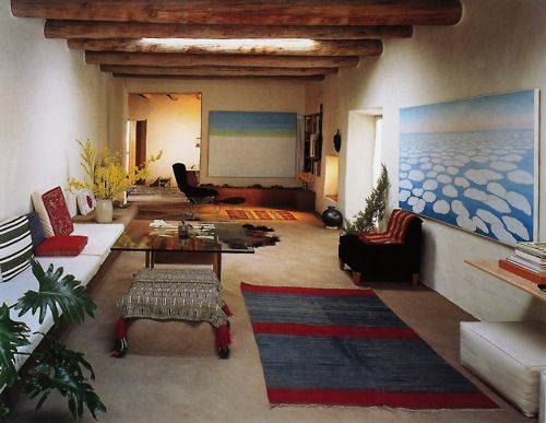 [THE LIVING ROOM OF O'KEEFFE'S ABIQUIU HOME] - Balthazar Korab  *  Georgia O'Keeffe had quite a lot of designer furniture, from Eames to Knoll.  Of course, her dining room table was made of plywood.