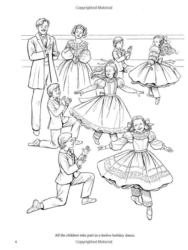 Nutcracker ballet coloring book dover holiday coloring for Nutcracker ballet coloring pages