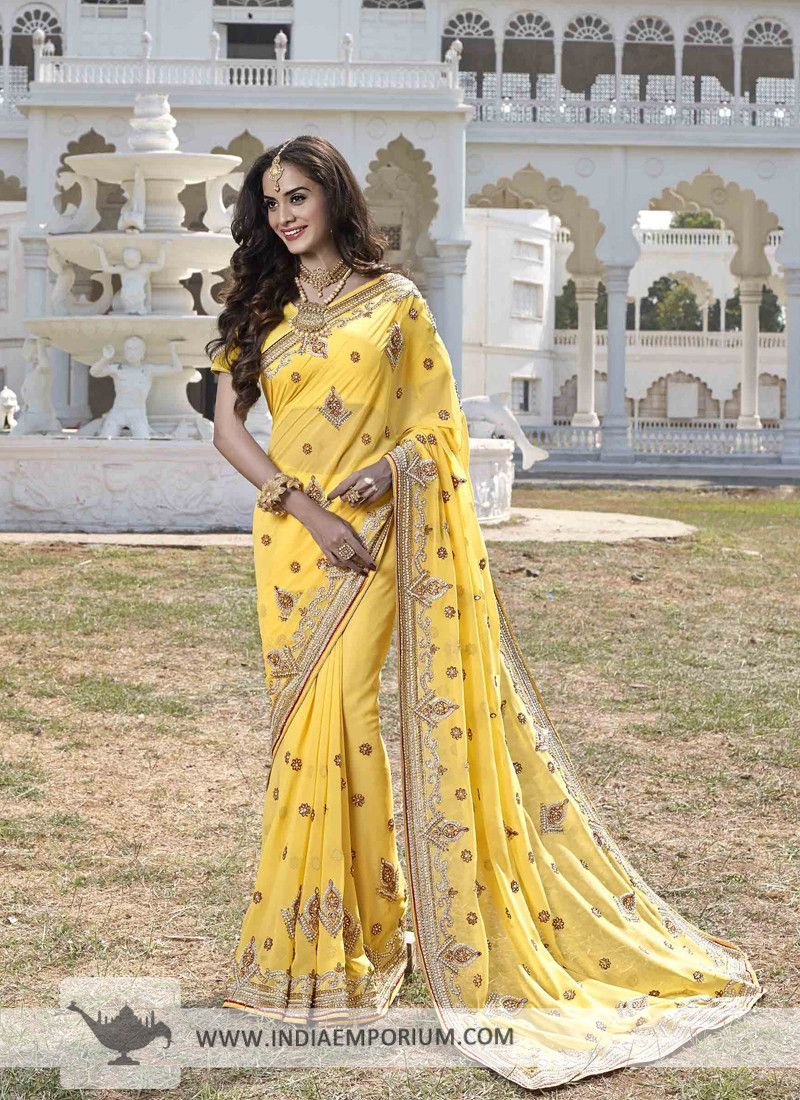 79bbb6bc17038 Fabulous Yellow Stone Work Embroidered Saree