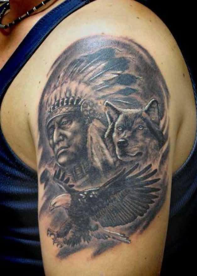 Indian Chief And Wolf Tattoo On Left Shoulder Mini Tatuajes
